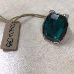 Uno de 50 Swarovski green crystal ring
